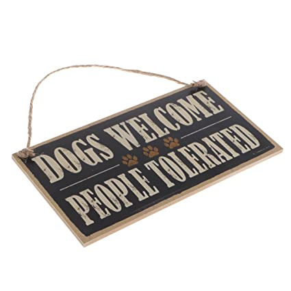 Kawn Vintage Dogs Welcome People Tolerated Board Plaque Wooden Sign Hanging Decor with Jute Twine