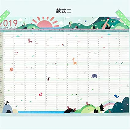 Calendario de pared de papel de 365 días para el año 2019 ...