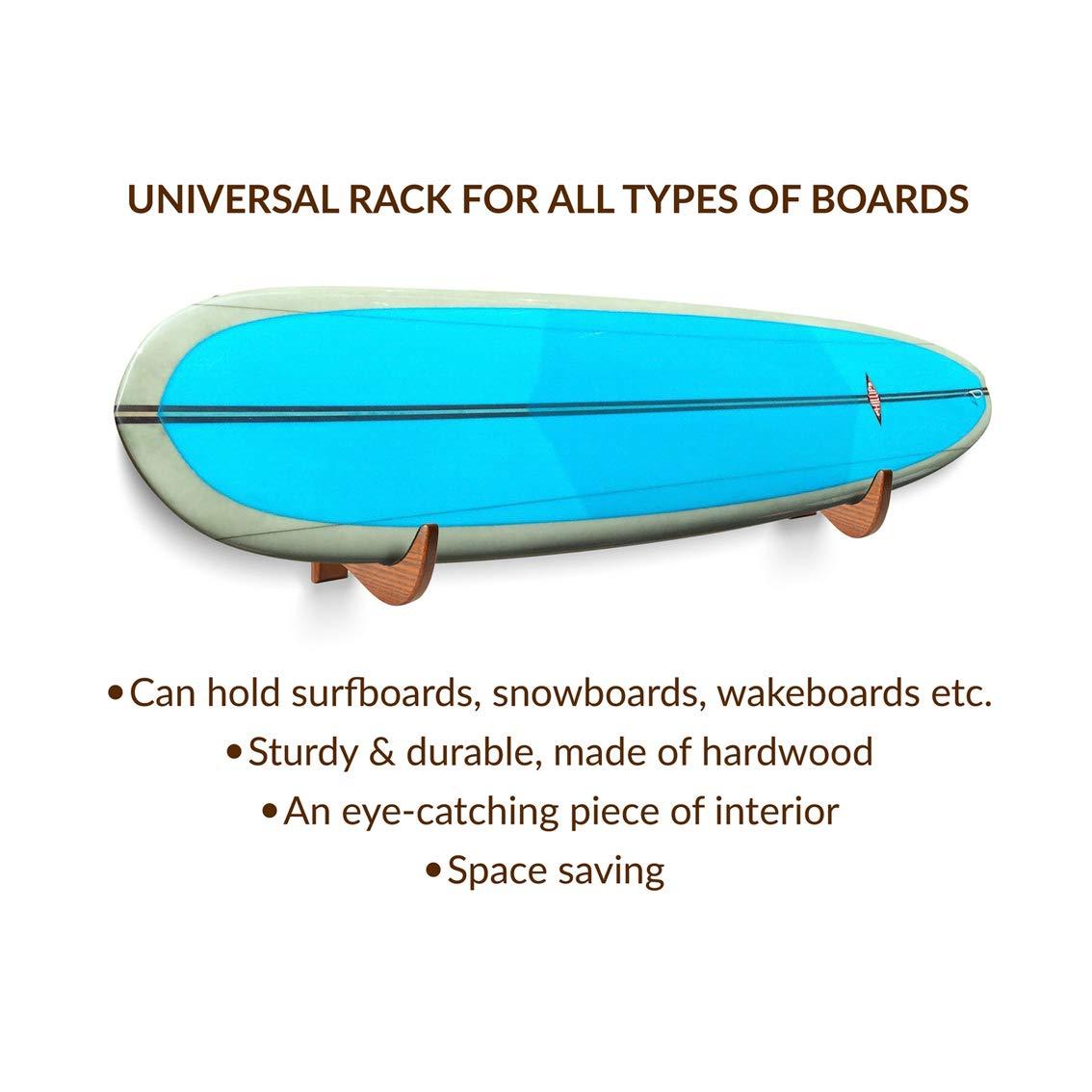 Amazon.com: TESLYAR Surfboard Rack Holder Hooks Ash Tree ...