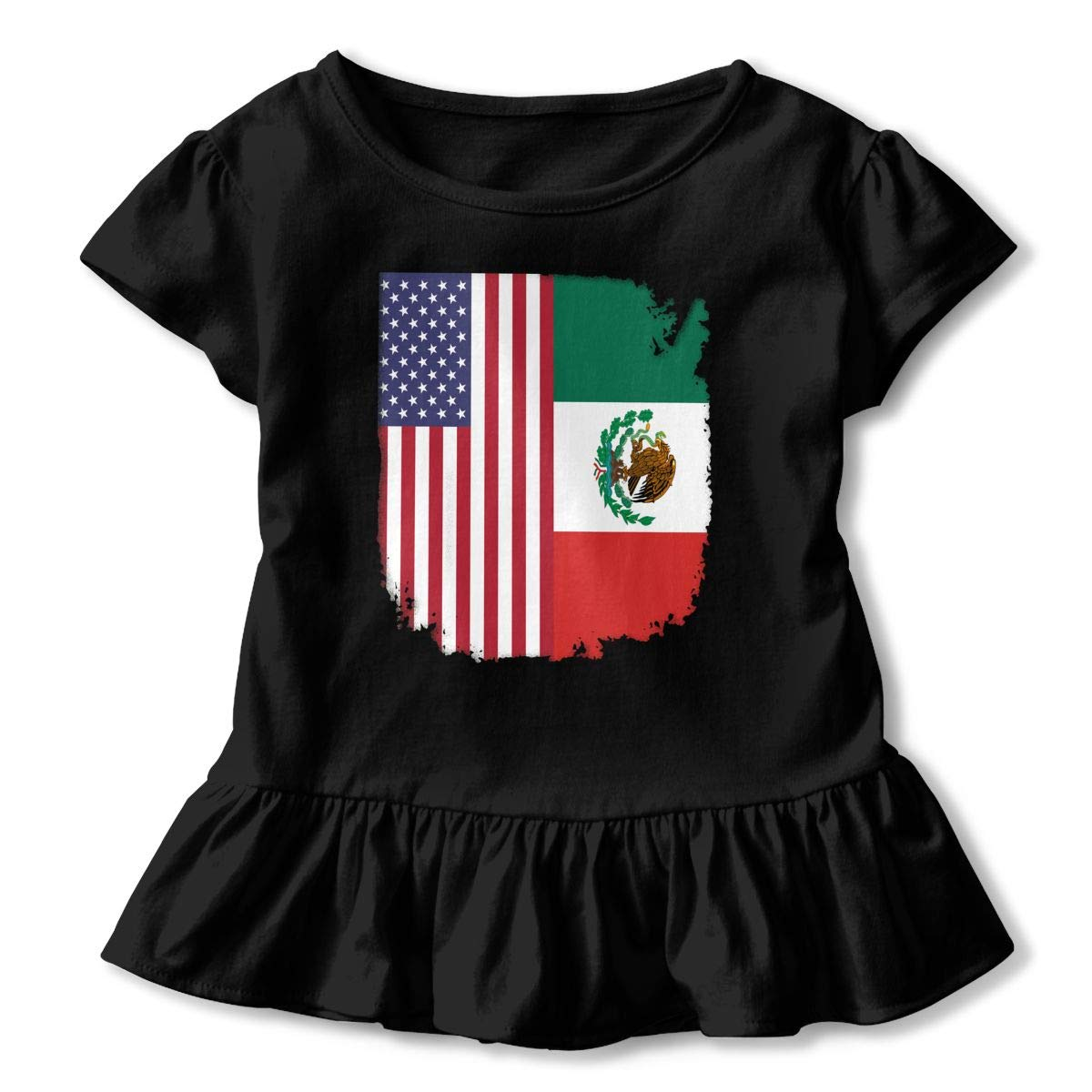 SHIRT1-KIDS Mexican American Flag Childrens Girls Short Sleeve Ruffles Shirt T-Shirt for 2-6 Toddlers