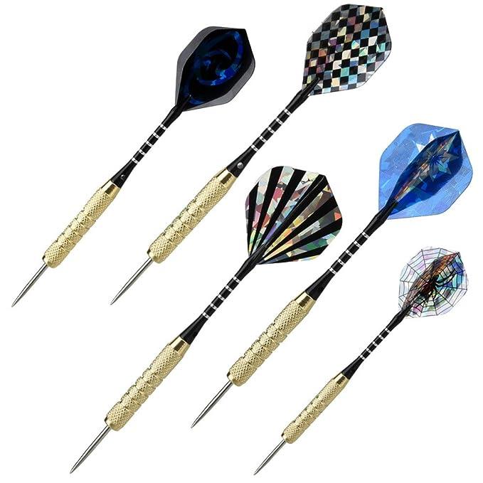1xSacapuntas de dardos 1xbotella Dardos OIZEN 15 Pack de dardos 18xplumas Dardos Profesionales Dardos Punta de Acero