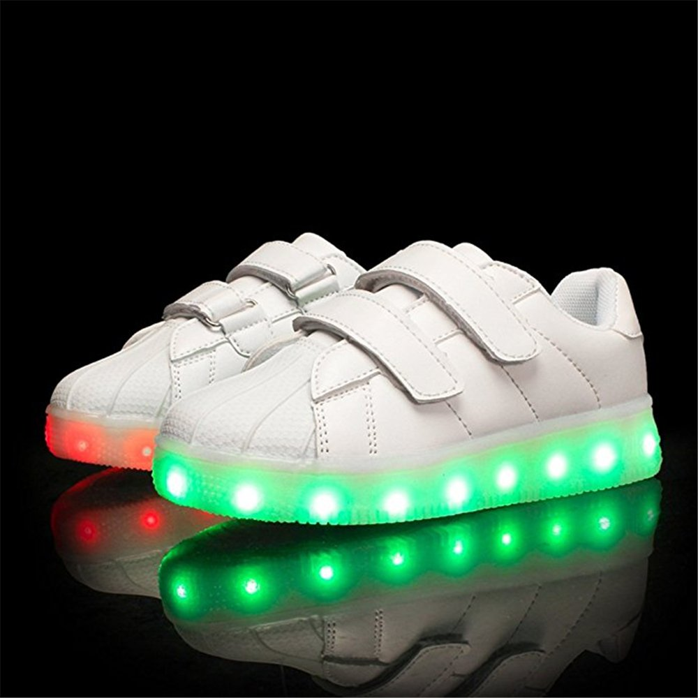 strengths Kids Boy and Girls 7 Color Led PU Sneakers Light up Flashing Skateboard Shoes Toddler//Little Kid//Big Kid