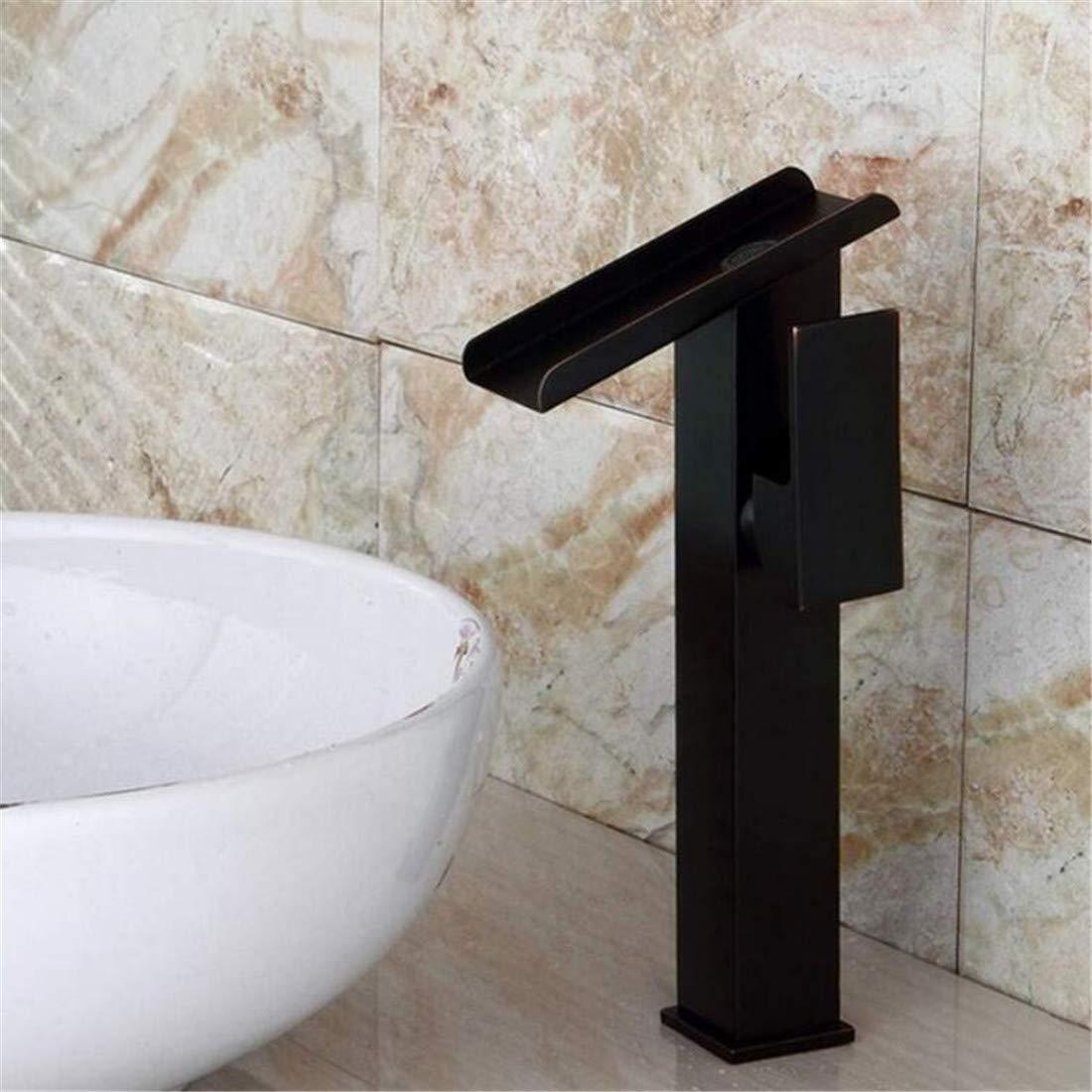 Retro Heißer Und Kalter Wasserhahn Mixer Luxusüberzugmoderner Kreativer Schwarzwasser Angetriebener Höherer Wasserhahn-Badezimmer-Becken-Hahn