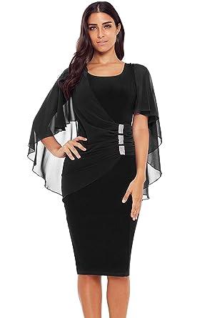 398eee3f65d FUSENFENG Womens Plus Size Chiffon Cape Sleeve Bodycon Party Pencil Midi  Dress S-XXXL (