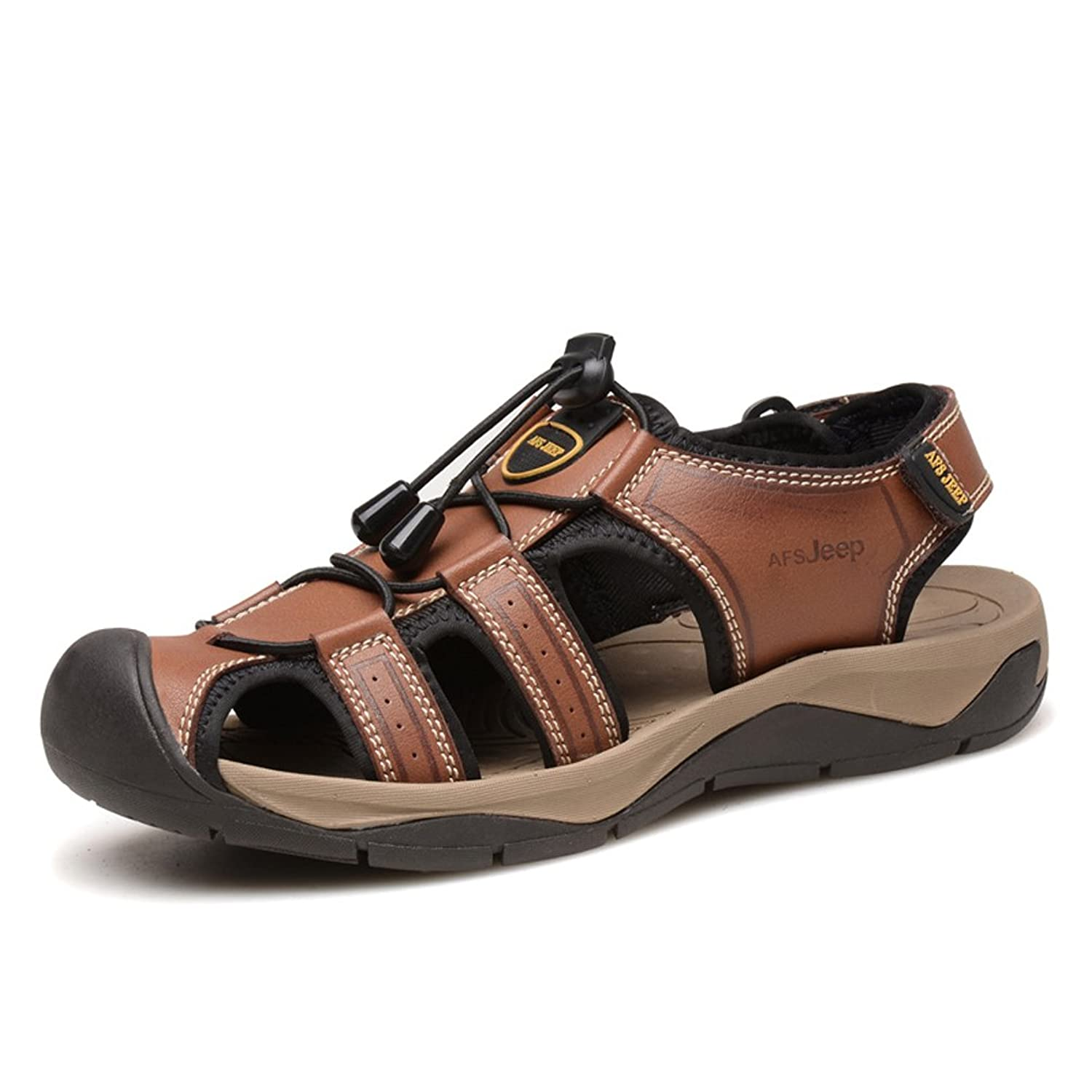 AFS JEEP Men's Strap Sport Sandals Close Toe Beach Athletic Boating Shoes A3944 Brown EU44
