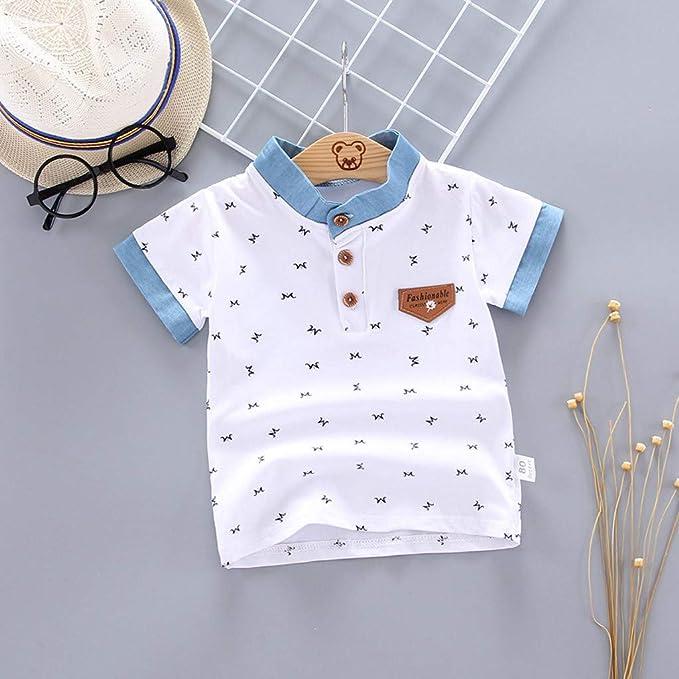 ZHMEI Camisetas niña   Niño Niños Bebés Niños Imprimir Letra Caballero Botón Camisa Tops Ropa de Camiseta 0-5 años: Amazon.es: Ropa y accesorios