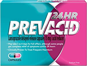 Prevacid 24HR Lansoprazole Delayed-Release Capsules, 15 mg- Proton Pump Inhibitor (PPI) for Heartburn Relief, 42 Count