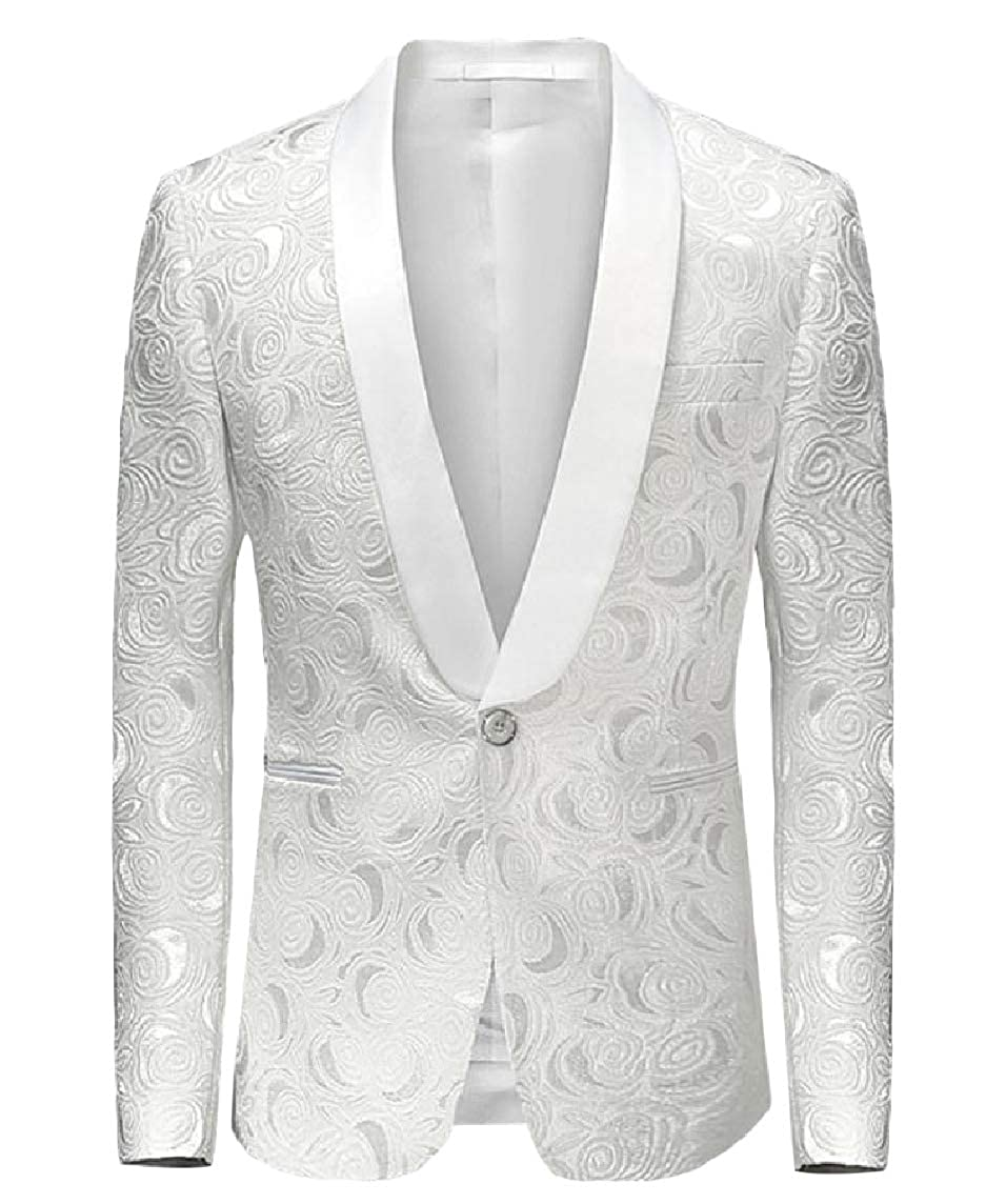 Nicelly Men Premium Lapel Plus-Size Button Leisure Painting Blazer Jacket Coat