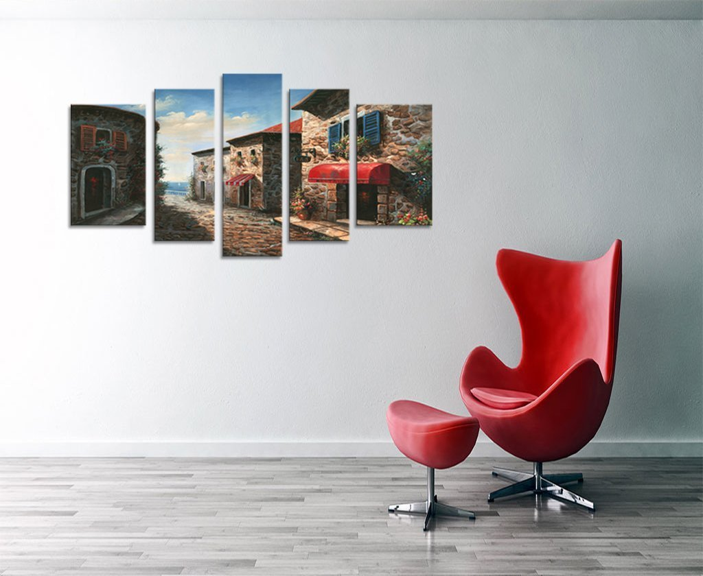 Vintage Stone Street Oil Paintings Prints on Canvas Modern Abstract Classic Stone Architecture Garden Building Artwork 5 Panel Multi Pictures Wall Art Stretched and Framed Ready to Hang
