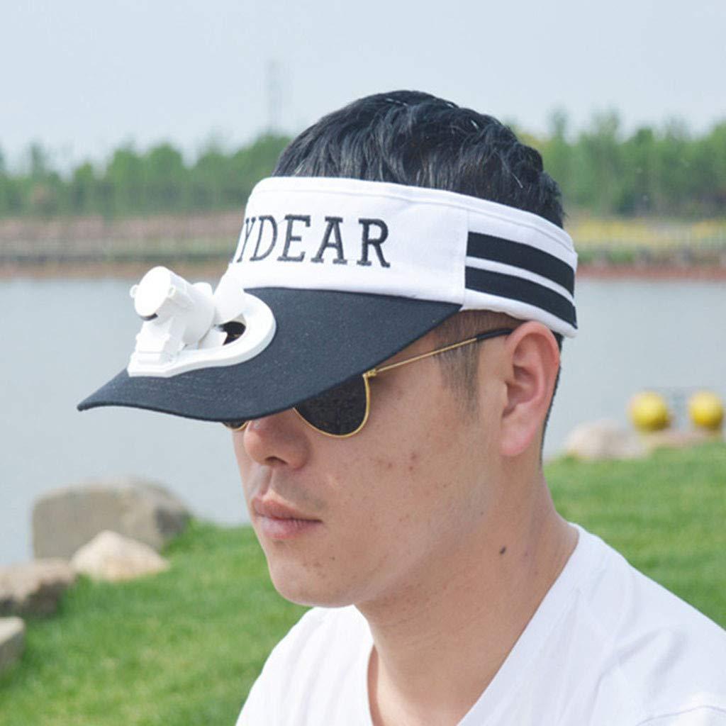 Meidexian888 USB Charging Fan Cap,Summer Unisex Cooling Sunscreen Camping Hiking Peaked Cap Fan Empty Top Hat (Black) by Meidexian888 Sun Hat (Image #3)