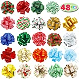 """48 PCs Christmas Gift Wrap Pull Bows (5"""" Wide) with Ribbon for Boxing Day Decorations, Holiday Décor Present Wrapping.: more info"""