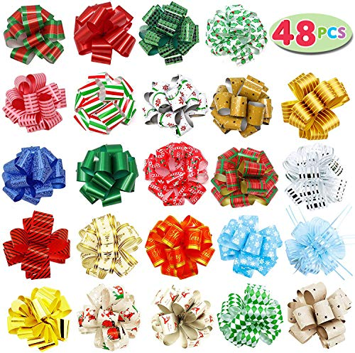 48 PCs Christmas Gift Wrap Pull Bows 5quot Wide with Ribbon for Boxing Day Decorations Holiday Décor Present Wrapping