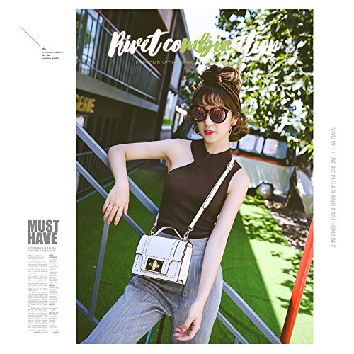 Yoome Punk estilo de moda remaches Flap elegante retro hebilla media Crossbody bolsos para las mujeres - rojo Negro