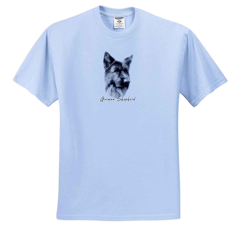 Chic Gift for Anyone Adult T-Shirt XL 3dRose Alexis Design Elegant German Shepherd Dog Portrait Dog Breed ts/_320868