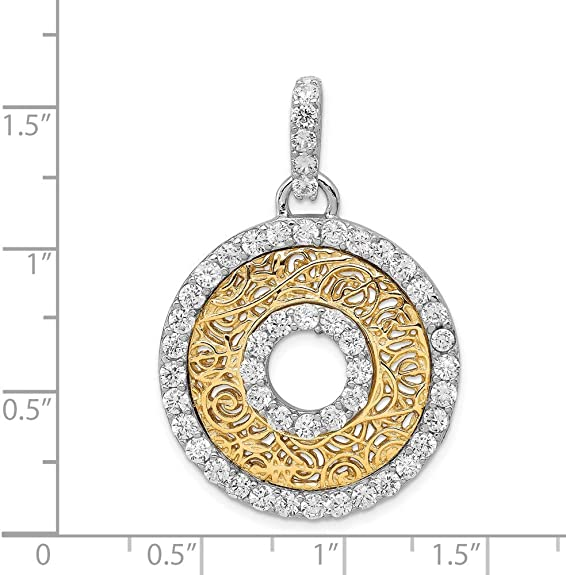 1.54 in x 1.1 in Sterling Silver CZ /& Vermeil Circle Pendant