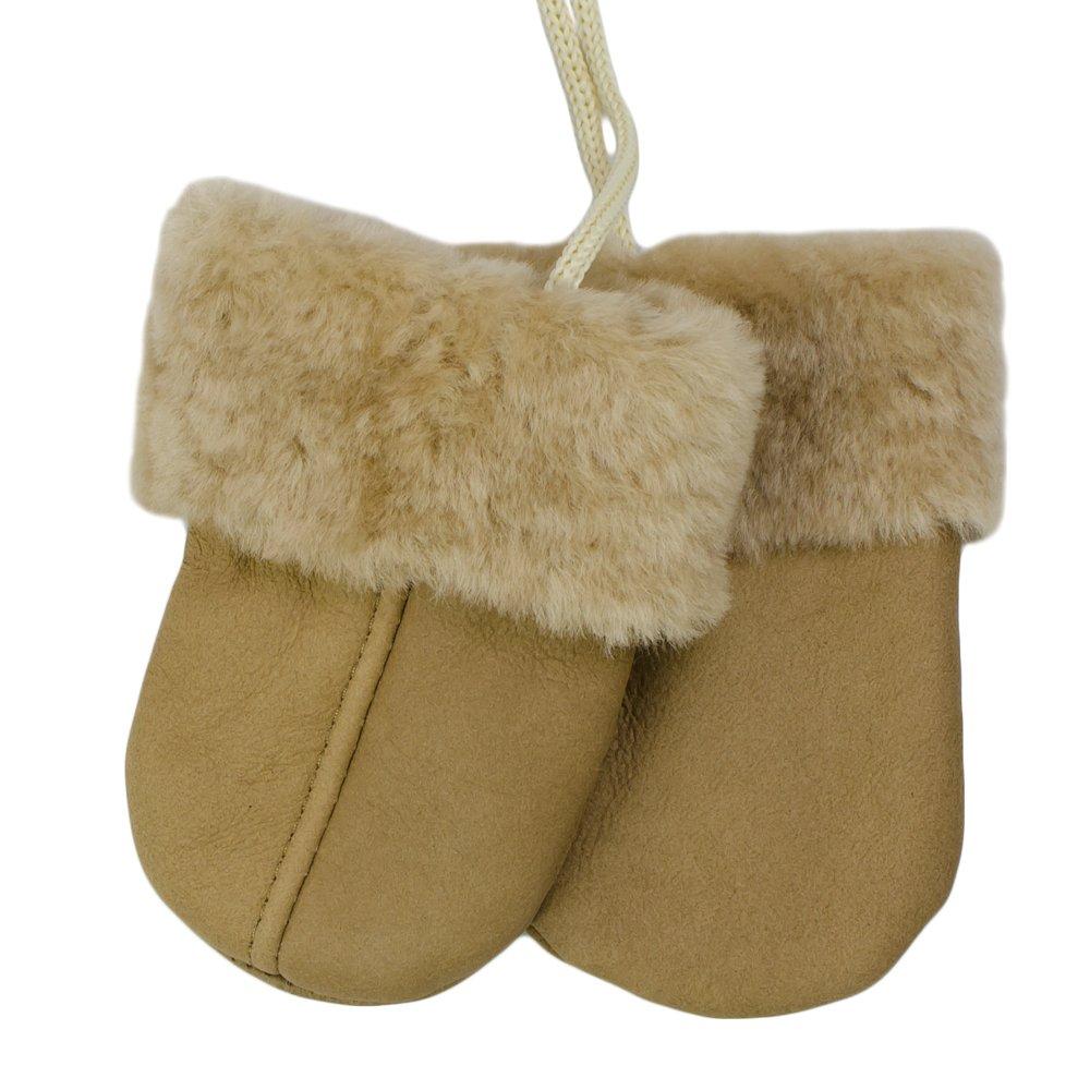 SamWo, Babyhandschuhe aus echtem Lammfell, kuschelig warmes Naturprodukt, für Kinder von 0-1 1/2 Jahren, Farbe: braun/natur Babyhandschuhe 0-18 Mon br
