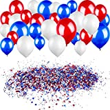 Gejoy 120 g Red White Blue Star Confetti Stars Glitter Confetti and 30 Pieces 12 Inch Balloons for Party Decoration 4th of July and Wedding Supplies