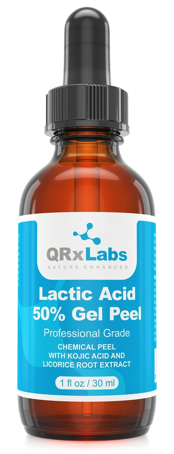 Lactic Acid 50% Gel Peel with Kojic Acid and Bearberry & Licorice Root Extracts - Professional Grade Chemical Face Peel - Alpha Hydroxy Acid - 1 Bottle of 1 fl oz