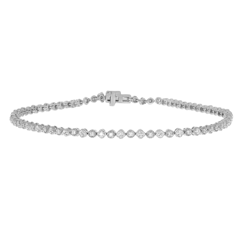 1/4 ctw Brilliant Genuine Diamond Tennis Bracelet 10K Solid Gold for Ladies (white-gold)