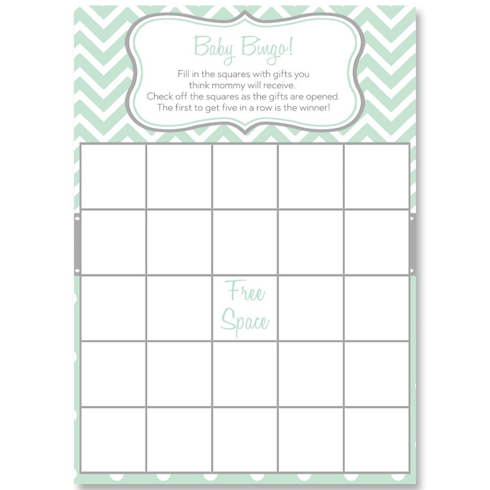 Bingo Games, Chevron Stripes & Polka Dots, Mint, White, Grey, Gray, Baby Shower Games, Mint Gender Neutral Baby Shower, 24 Printed Game Cards by The Invite Lady