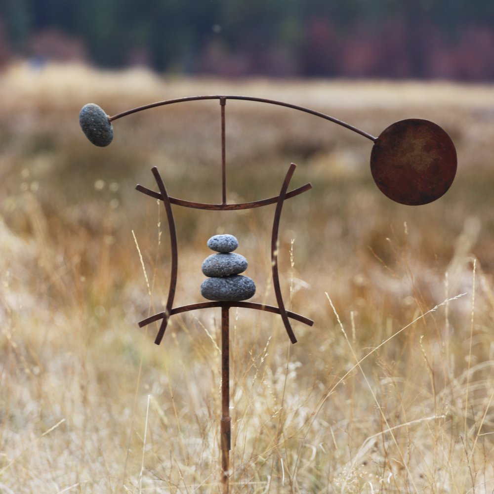 Zen Garden Spinner Kinetic Wind Sculpture | Balanced Arch Yard Decor With Rock Cairn And Stake | Relaxing Metal Art Wind Vane | Handmade In The USA