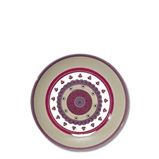Piatto Dessert In Ceramica decorazione Rosetta 23cm–Lotto di 6–Lelia–Bruno Evrard