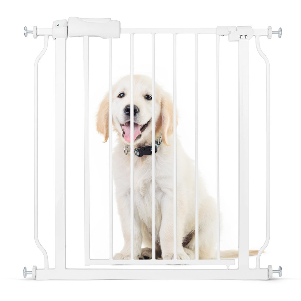 Delxo Multi-Use Metal Baby Gate Pet Gate 22'' Wide Opening Easy Walk-Through Single-Hand Access Easy Set up No Tools Required Fit Opening 29'' to 34'' Wide for Baby/Dogs/Cats Sturdy Enough Bear 80 Pound