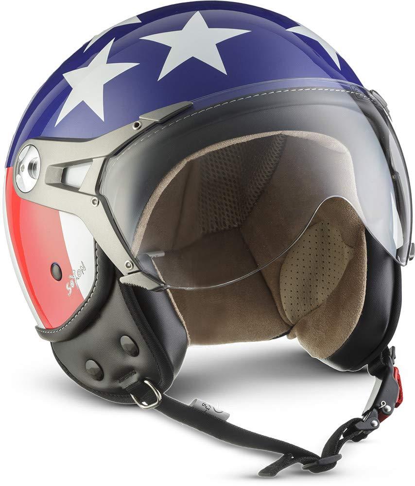 SOXON SP-325 Vintage · Pilot Jet-Helm Scooter-Helm Motorrad-Helm Vintage Biker Cruiser Chopper Retro Mofa Bobber Vespa-Helm Helmet Roller-Helm · ECE zertifiziert · mit Visier · inkl. Stofftragetasche · Braun · XS (