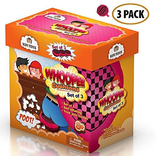 Whoopee Cushion Self Inflated 7″ Set of 3 Gift Box Fart Prank Gag Novelty Trick Joke Toy for Kids Children Adults Office Home or Party by Kipi Toys