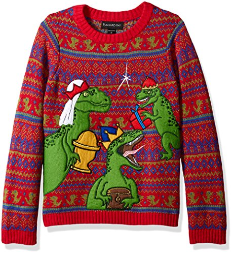 Knit Christmas Sweater - Blizzard Bay Big Boys' Three Wise Raptors Xmas Sweater, Red/Green/Blue, 12/14 M