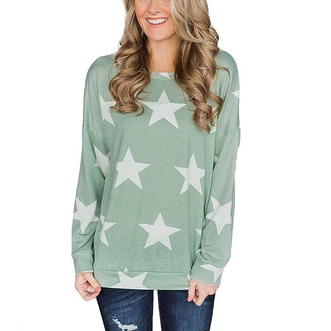 Camiseta de Manga Larga con Estampado de Estrellas Camiseta Suelta de Mujer con Blusa Causal (