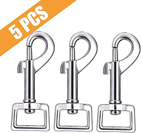 Swivel Hook Spring Clip w// Square Eye Key Chain Connection Nickel Plated