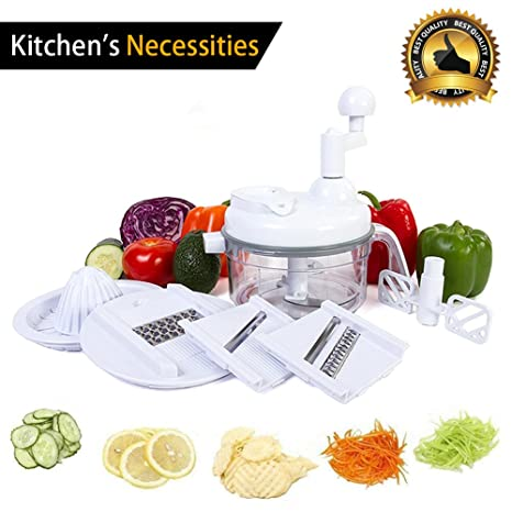 Manual Food Processor Vegetable Chopper   4 Cup Hand Powered Crank Chooper  For Pesto/