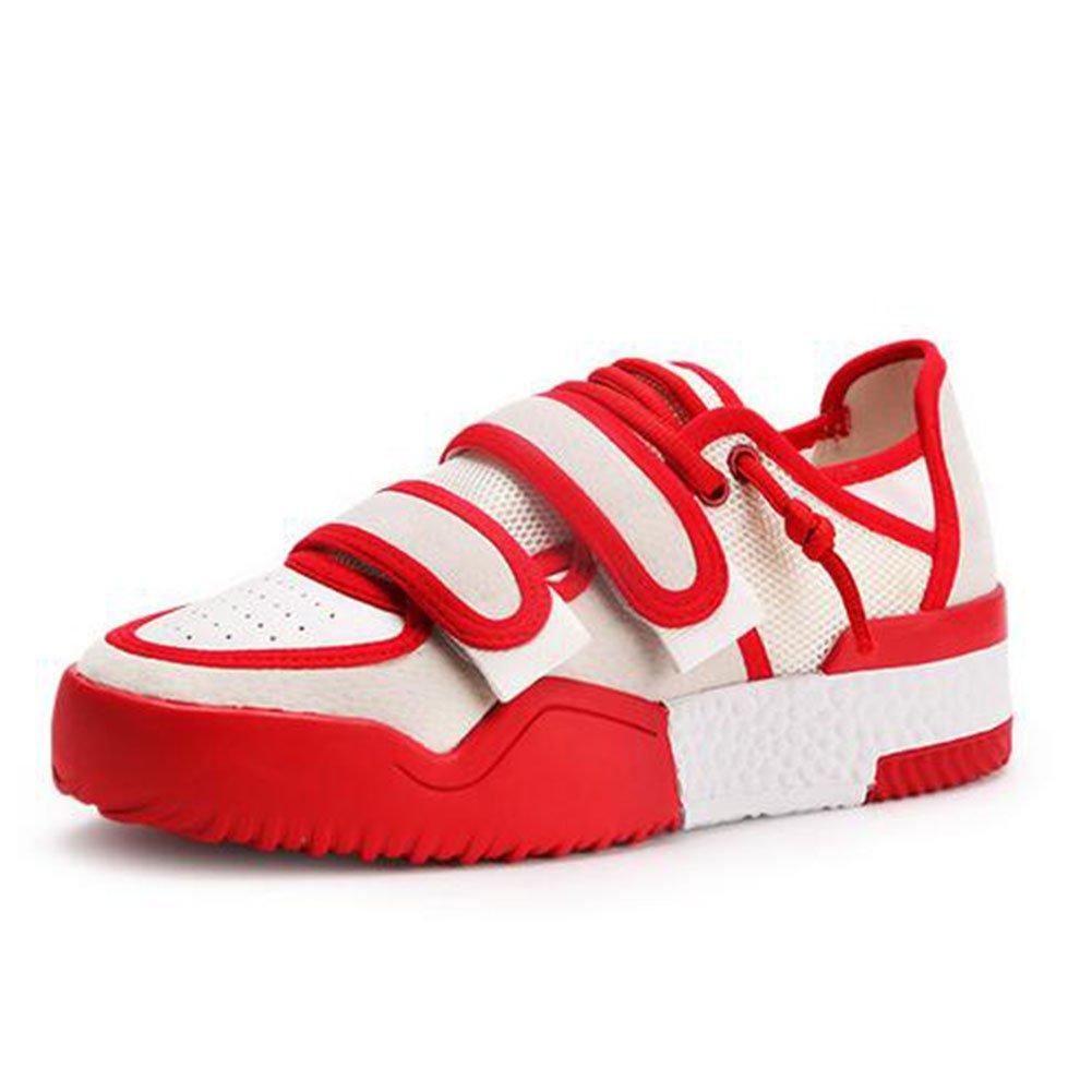 Zapatillas de Deporte de Las Mujeres Zapatos Casuales Primavera y Otoño Zapatos Planos nuevos Zapatos de Velcro Casual Malla de Moda Zapatos (Color : Rojo, Tamaño : 36) 36|Rojo