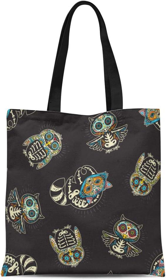 Semtomn Cotton Canvas Tote Bag Colorful Sugar Skull of Owl Penguin and Raccoon Mexican Reusable Shoulder Grocery Shopping Bags Handbag Printed