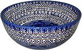 Polish Pottery Mixing Bowl, Pasta or Serving Bowl Unikat Blue Garden