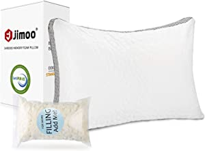 J JIMOO Bed Pillow for Sleeping, Shredded Memory Foam Pillow Adjustable Loft Washable Hotel Pillow with Cooling Bamboo Derived Rayon Cover for Side and Back Sleeper, Standard 1 Pack