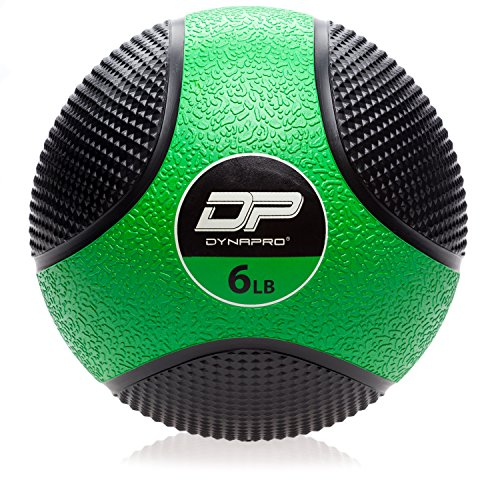 DYNAPRO Medicine Ball   Exercise Ball, Durable Rubber, Consistent Weight Distribution, Comfort Textured Grip for Strength Training (Green- 6LB)