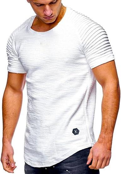 Hombres Camisetas sin Mangas, Casual Slim Fit Manga Corta/Manga Larga con Capucha Tops Camisa