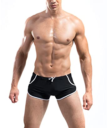 0ecfff9efe DESMIIT Men's Swim Boxer Trunks Solid Quick Dry Swimwear Briefs ...
