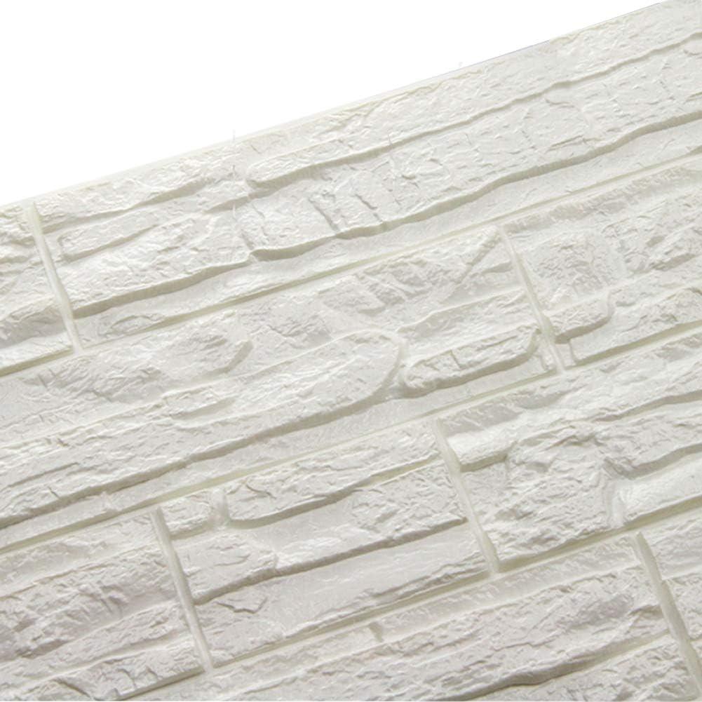 24 Pcs, Blanco DIY Pared Pegatinas Decoraci/ón de Pared en Relieve Piedra de ladrillo Para Casa Sala de Estar TV Fondo Pared WANWEITONG 3D Papel Pintado ladrillo PE de Espuma de 3D Wallpaper