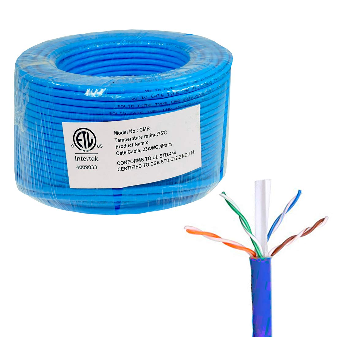 FiveStarCable 1000ft Cat6 CMR Riser Rated 23AWG 4 Twisted Pair Solid Bare Copper Conductor ETL Listed Ethernet Network LAN Cable PVC Red