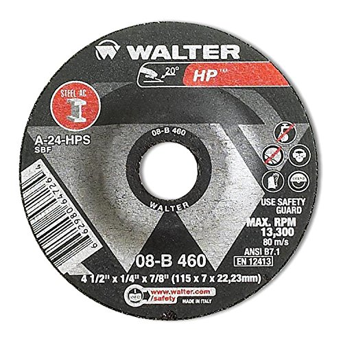 Walter HP Grinding Wheel, Type 27, Round Hole, Aluminum Oxide, 4-1/2'' Diameter, 1/4'' Thick, 7/8'' Arbor, Grit A-24-HPS (Pack of 25) by Walter Surface Technologies (Image #4)