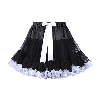 Jusian - Falda - globo - para niña blanco y negro Medium: Amazon ...