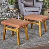 Analise Foot Stool Ottoman | Mid Century Modern, Danish Design | Upholstered in Orange Fabric (Set of 2)