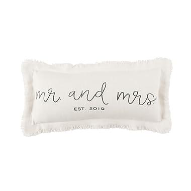 Mud Pie Mrs Established 2019 Wedding Accent Pillow White
