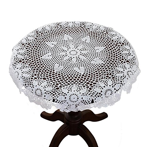 - gracebuy 35 Inch White Round Handmade Crochet Lace Tablecloth Doily
