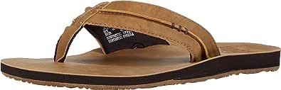 Reef Men's Sandals Marbea SL | Vegan Leather Flip Flops for Men, Tan, 14