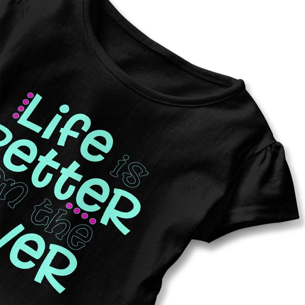 Life is Better On The River Toddler Baby Girls Cotton Ruffle Short Sleeve Top Comfortable T-Shirt 2-6T