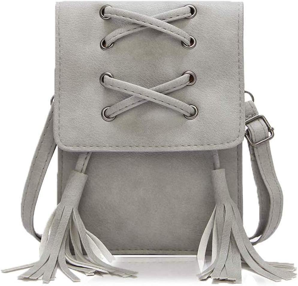 ZVE Small Leather Crossbody Cellphone Shoulder Bag for Women, Smartphone Wallet Purse with Removable Strap for Shopping -Gray